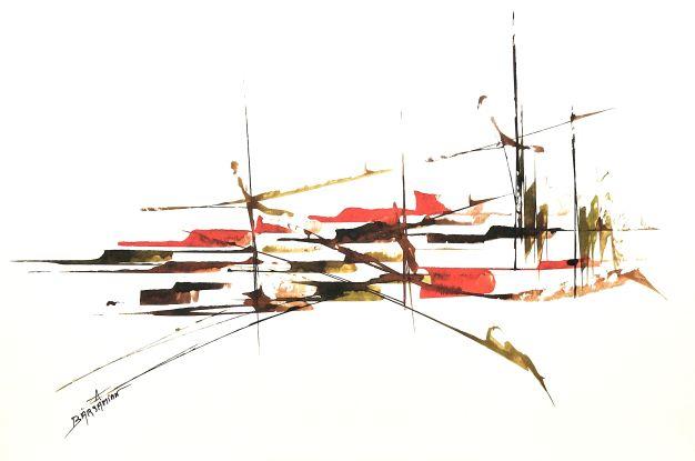 GRAPHISMES    039   0,32m X 0,50m Encre acrylique sur papier Montval Canson