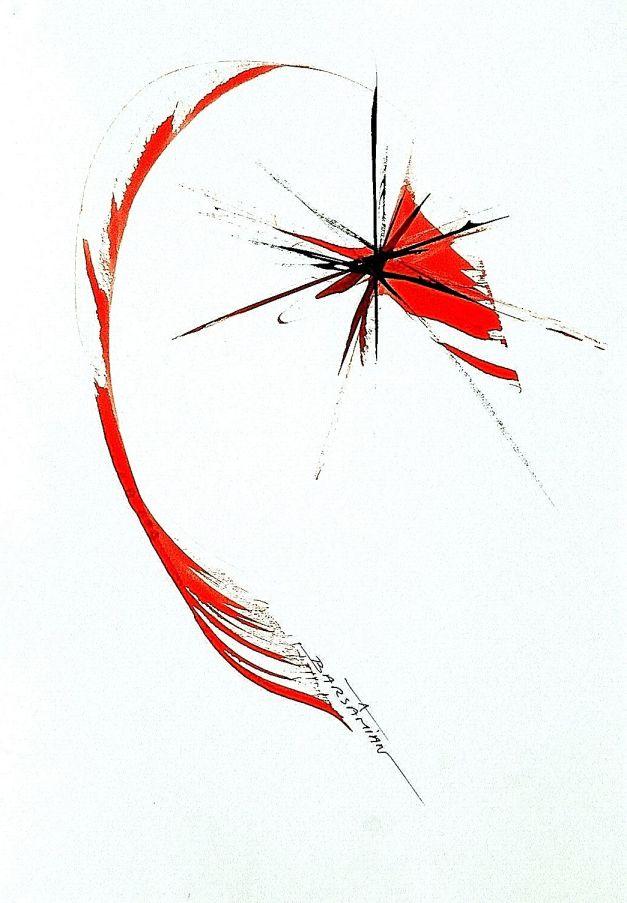 GRAPHISMES    127   0,21m X 0,30m encre acrylique sur papier